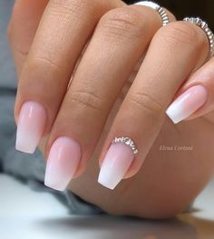 Elegant Coffin Shaped French Ombre Nails With Rhinestones! Elegant Coffin Shaped French Ombre Nails With Rhinestones! Coffin Nails Ombre, Acrylic Nails Coffin Short, Square Acrylic Nails, White Acrylic Nails, Coffin Shape Nails, Best Acrylic Nails, Glitter Nail Polish, Acrylic Nail Art, Gold Nails