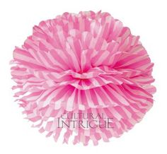 Pom-Pom with more layers for more fluffiness! 40 vibrant colors available in bulk Each pom is folded and tied in the center with a white ribbon. Tissue Balls, Tissue Pom Poms, Tissue Paper, Paper Flower Ball, Paper Flowers, Pink Stripes, Stripes Design, Carnival Supplies, Party Supplies