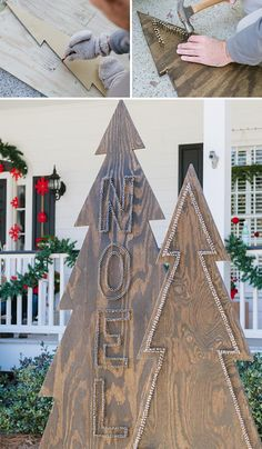 DIY Front Yard Christmas Decorating Projects • A round-up of great Ideas and Tutorials! Including, from 'hgtv', learn how to make these awesome rustic nail head Christmas trees!