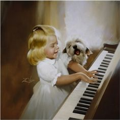 Donald Zolan - Song For Two ~ Let's make music. Music Pics, Art Music, Artists For Kids, Art For Kids, 3 Kids, Piano Art, Playing Piano, Dogs And Kids, Joy To The World