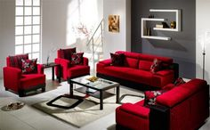 Modern Living Room Decor With Red couch, makes the room pop