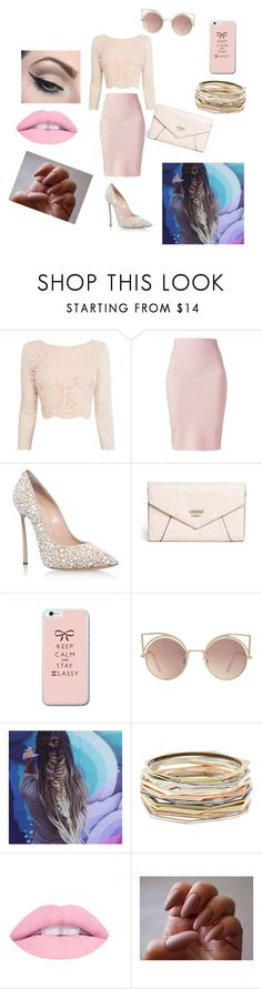 """Untitled #160"" by aahd-nagib on Polyvore featuring Coast, Winser London, Casadei, GUESS, MANGO, Kendra Scott and Mehron"
