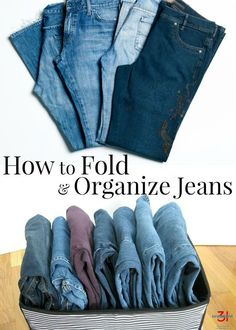 How to Fold Jeans and Pants - The Best Way to Organize and Store Jeans Learning how to neatly fold and organize jeans like a professional saves space & makes your closet look neater. The best way to fold jeans and fold pants. Dresser Organization, Organize Dresser, Organization Ideas, How To Fold Jeans, Organiser Son Dressing, Folding Jeans, Organizar Closet, Clothes Cabinet, Home Organization Tips