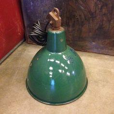 Emaille hanglamp groen Voorzien van nieuwe fitting