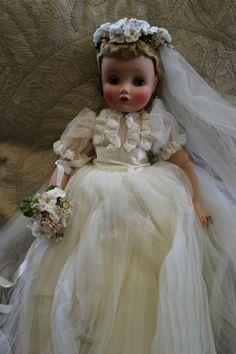 Doll Costume, Costumes, Bride Earrings, Bride Dolls, Madame Alexander Dolls, Here Comes The Bride, Vintage Dolls, Garter, Flowers In Hair