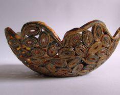 Handmade magazine cachepot vase red unique piece by fantasmaniaxx