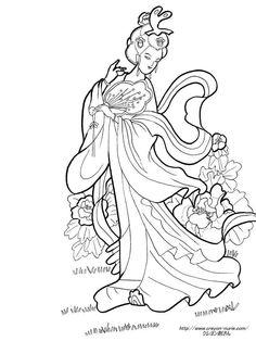 中国美人と牡丹の塗り絵の下絵、画像
