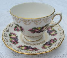 Vintage Fruit Tea Cup and Saucer by Colclough, English Bone China