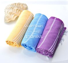 Turkish Bath Set of 3 Turkish Towels -  Beach Style Summer Beach Fashion Sarong Pareo Wrap Linen Peshtemal Bath Towels Summer Dress Woman