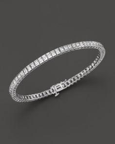 Diamond Princess Cut Tennis Bracelet in 14K White Gold, 5.0 ct. t.w.