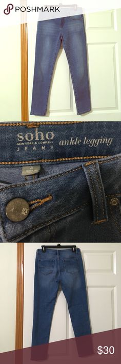 SOHO Ankle legging jeans NWOT SOHO Ankle legging jeans in excellent condition. Super stretchy and comfortable! Thanks for looking! Open to trades and offers! Soho Apparel Jeans Ankle & Cropped