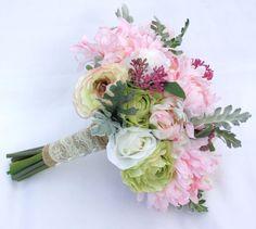 Silk Flower Bridesmaid's Bouquet Pastel by UnrealWeddingFlowers
