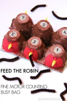 Spring Robin and worm counting busy bag with fine motor play.