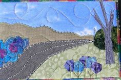 Handmade Fabric Postcard A Drive in the Country by SewUpscale, $12.00