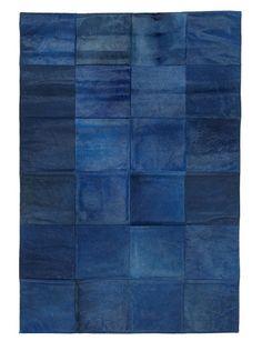 Hide Rug Blue Patchwork, 4' x 6' at MYHABIT