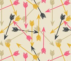 Tan mustard yellow navy & pink modern arrow by LinnysPillows, $30.00