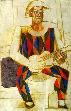 Pablo Picasso _ Arlequin assis à la guitare 1916