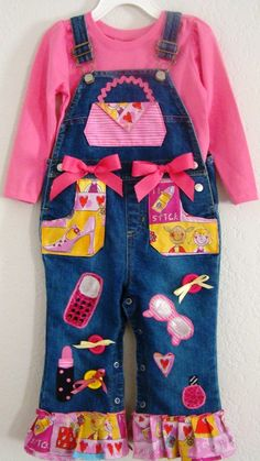 Custom Boutique Girls Overalls Set by buttonsnbowstexas on Etsy, $35.00
