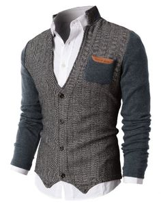 I'm gonna go ahead and say I like men's fashion. Mens Herringbone Cardigan Sweater Of Knitted Sleeves in Brown Sharp Dressed Man, Well Dressed Men, Mode Outfits, Fashion Outfits, Sweater Cardigan, Men Sweater, Longline Cardigan, Male Cardigan, Open Cardigan