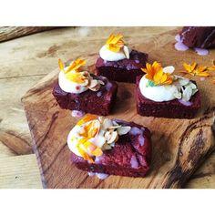 """#RedVelvet bars w/ redcurrant drizzle & chrysanthemum"""