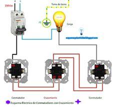 Esquemas eléctricos: Esquema eléctrico de conmutadores con cruzamiento