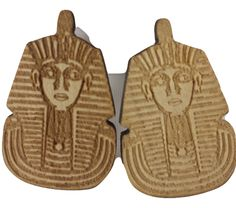$15.00  Egyptian King Tut Pharaoh Wooden Stud Earrings  Shop online now at www.liverpoolprivatereserve.com
