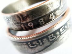 1984 Quarter Ring with Patina 30th Birthday Gift by CoinCollection, $45.00