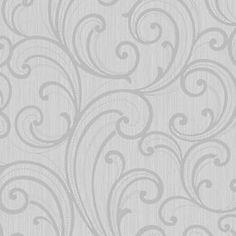 Colours Sarika Grey Scroll Textured Wallpaper