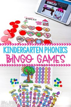 Your students will love these phonics bingo games to review and practice kindergarten phonics. Available in digital and print! Excellent center idea or whole-group activity