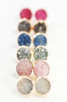 A'ia'i earrings gold druzy stud earrings gold by www.kealohajewelry.com https://www.etsy.com/listing/164693862