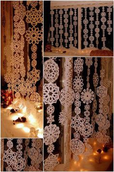 christmas craft diy for the home -- christmas paper snowflake garlands used to decorate the windows.  easy decor idea