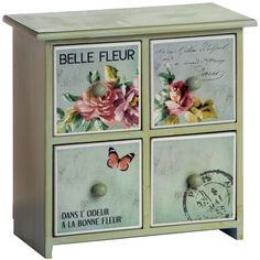 4 Drawer Floral Mini Chest With Tiles Xx Sale Xx found on Polyvore featuring furniture, blue, home, muebles, 4 drawer dresser, miniature furniture, four drawer dresser, floral furniture and blue dresser