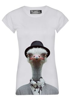 cool Shirt Skinny Woman Ostrich