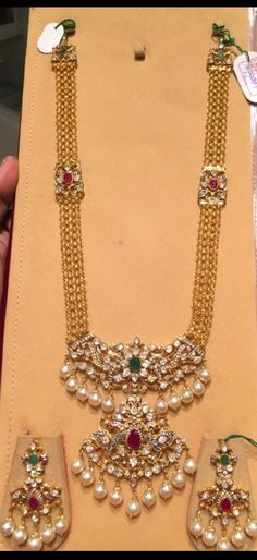 antique finish long chain with patakam pendant in kundan and pachi work with suitable earrings Indian Wedding Jewelry, Indian Jewelry, Bridal Jewelry, Emerald Jewelry, Gold Jewelry, Jewelery, Gold Earrings, Gold Necklace, Gold Jewellery Design