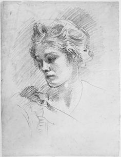 John Singer Sargent - Head of a Young Woman Portrait Sketches, Pencil Portrait, Portrait Art, John Singer Sargent Watercolors, Sargent Art, Art Drawings, Pencil Drawings, Beautiful Drawings, Museum Of Fine Arts