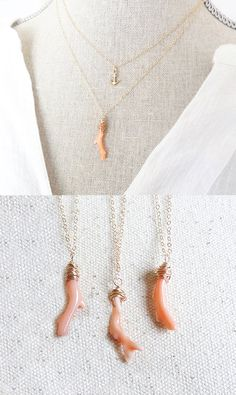 Branche de corail  bijoux Vintage de corail  pendentif par GemLark