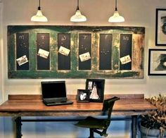 An old door & some chalkboard paint. Love these old door ideas! Need to find an old door! Chalkboard Calendar, Chalkboard Paint, Magnetic Chalkboard, Magnetic Paint, Chalk Paint, Chalkboard Ideas, Paint Calendar, Magnetic Boards, Hanging Chalkboard