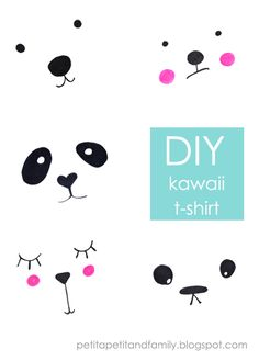I prepared an easy DIY for you which I call my Kawaii T-shirts. With just a few easy steps create some cute t-shirt with some sweet & simple animal faces. Diy For Kids, Crafts For Kids, Diy Crafts, Kawaii Diy, Panda Party, Diy Couture, Fabric Markers, Animal Faces, Cute Tshirts