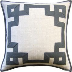 greek key pattern pillow...perhaps this design in white on...leopard print cotton twill?