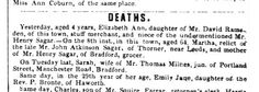 Emily Brontë's death is announced in the Leeds Mercury, Dec 21 1848