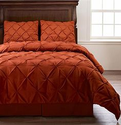 Pinch Pleat Orange Color TWIN Size 3Piece Comforter Set Bed Cover by Cozy Beddings >>> Click on the image for additional details.