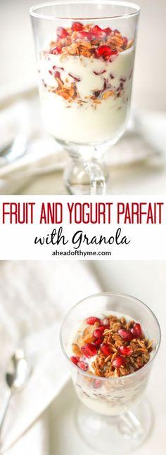 Fruit and Yogurt Parfait with Granola: Layer fresh fruits, creamy yogurt and…