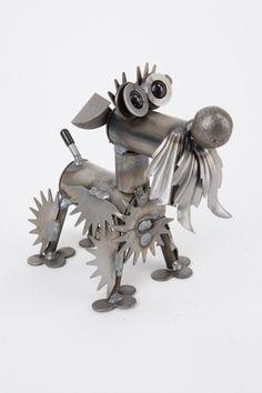 New Handmade Recycled Metal Tiny Schnauzer Dog Sculpture Yardbirds Made in USA   eBay