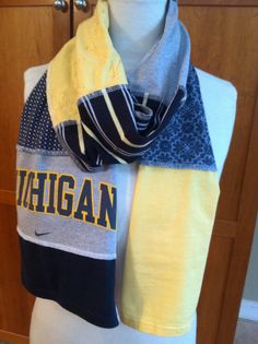 UPCYCLED t-shirt scarf... University of Michigan... U of M... Wolverines... blue, gray and gold