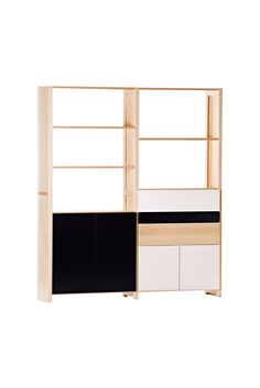 We have three tall Lundia shelves without doors. I think the doors would soften the look when the books and stuff would be hidden. This one looks kinda nice. White Brass, House Design, Scandinavian Living, Shelves, Drawers, Latest Interior Design, Home Decor, Furniture Design, Shop Design