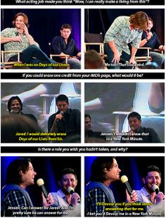 [GIFSET] Jared and Jensen Q and A. Jensen was in Devour and Days of Our Lives whereas Jared was in New York Minute.