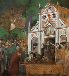 Giotto, Legend of St Francis- St. Francis Mourned by St. Clare 1300 Fresco, 270 x 230 cm Upper Church, San Francesco, Assisi Renaissance Kunst, Renaissance Artists, Italian Renaissance, Francis Of Assisi, St Francis, Italian Painters, Italian Artist, San Francisco, Fresco