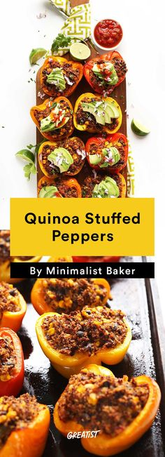2. Quinoa Stuffed Peppers #easy #vegetarian #dinners http://greatist.com/eat/vegetarian-dinner-recipes-that-bake-in-one-pan