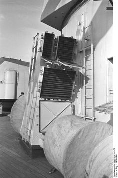 Vents located next to battleship Bismarck's turret 'Bruno', 1939-1941