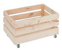 Caja de madera de pino con ruedas, natural - 30x50 cm